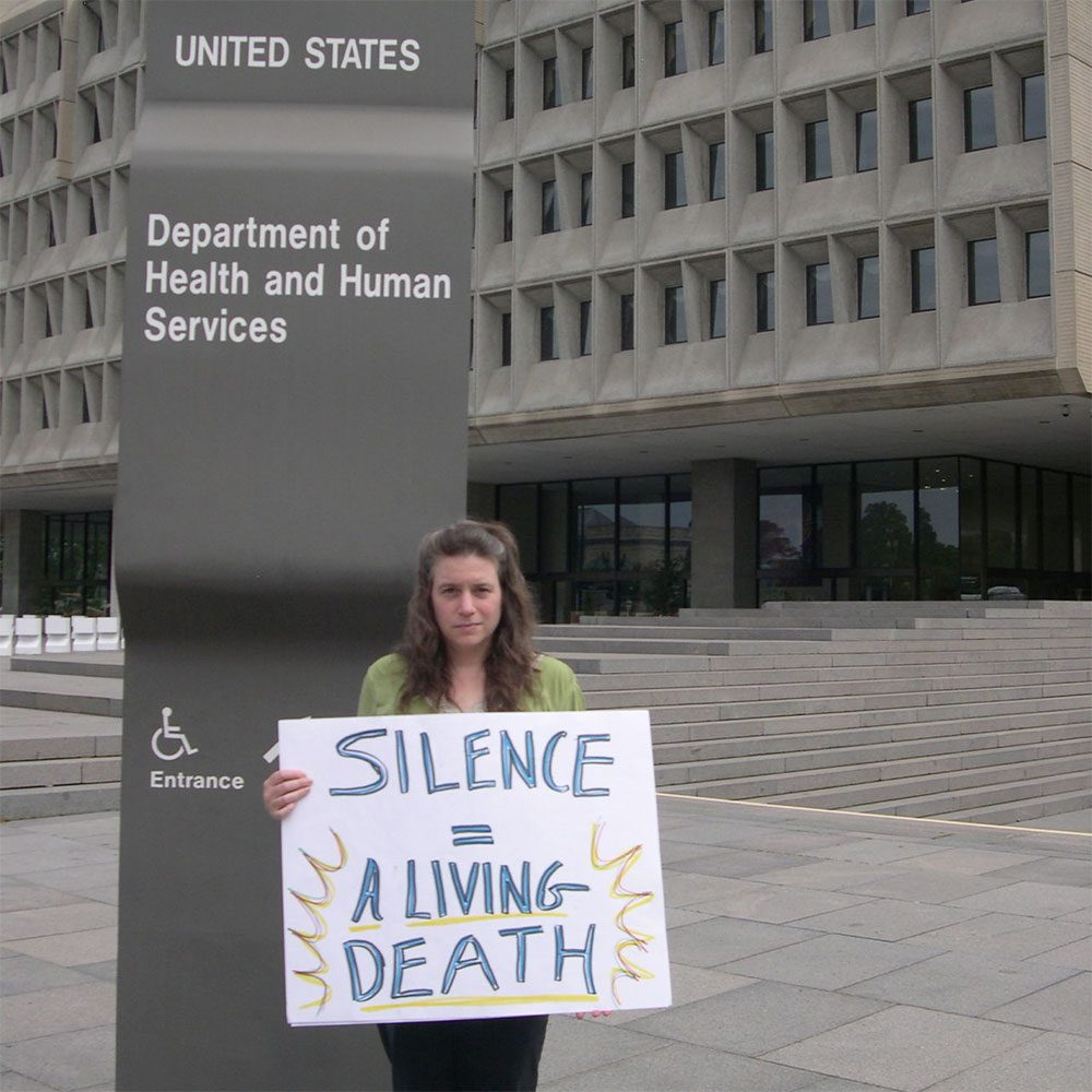 Rivka Solomon, who has Myalgic Encephalitis -- also known as Chronic Fatigue Syndrome --  protests federal inaction in Washington, D.C. (Courtesy of the author)