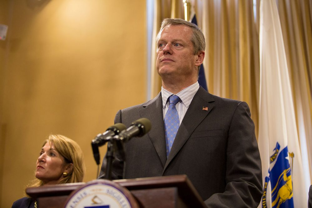 Governor Charlie Baker softened his position on refugees coming to Massachusetts on Sunday. (Jesse Costa/WBUR)