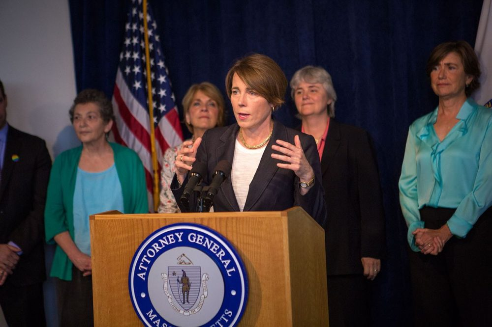 Attorney General Maura Healey released a study Wednesday afternoon about Massachusett's future energy needs. She opposes the Kinder Morgan proposed natural gas pipeline that would run through Franklin County. (Jesse Costa/WBUR)