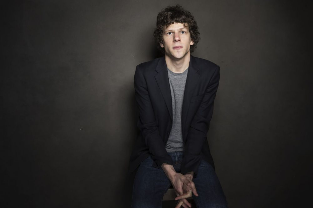 Jesse Eisenberg poses for a portrait at The Collective and Gibson Lounge Powered by CEG, during the Sundance Film Festival, on Friday, Jan. 17, 2014 in Park City, Utah. (Victoria Will/Invision/AP)