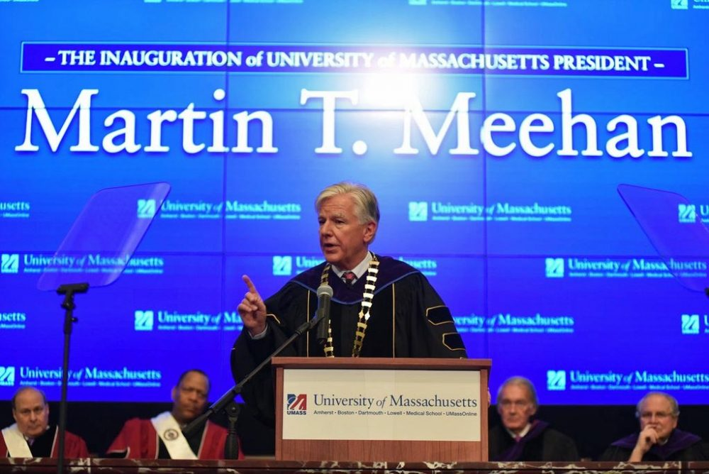 UMass President Marty Meehan speaks during his inauguration ceremony at the Edward M. Kennedy Institute for the U.S. Senate. on the UMass Boston campus Thursday. (UMass via Twitter)