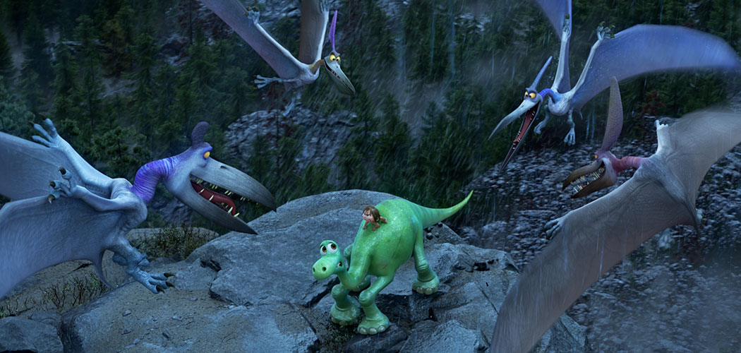 """Arlo the dinosaur and his pal Spot are attacked by pterodactyls in """"The Good Dinosaur."""" (Disney-Pixar)"""