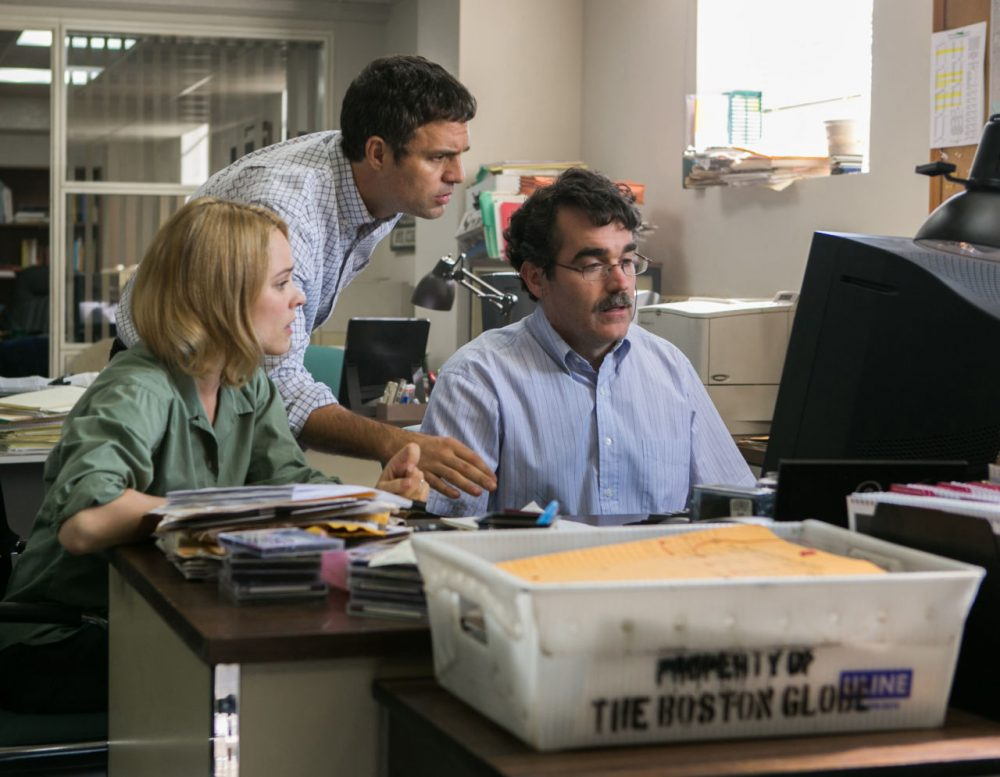 Rachel McAdams as Sacha Pfeiffer, Mark Ruffalo as Michael Rezendes and Brian d'Arcy James as Matt Carroll in 'Spotlight.' (Kerry Hayes / Open Road Films)