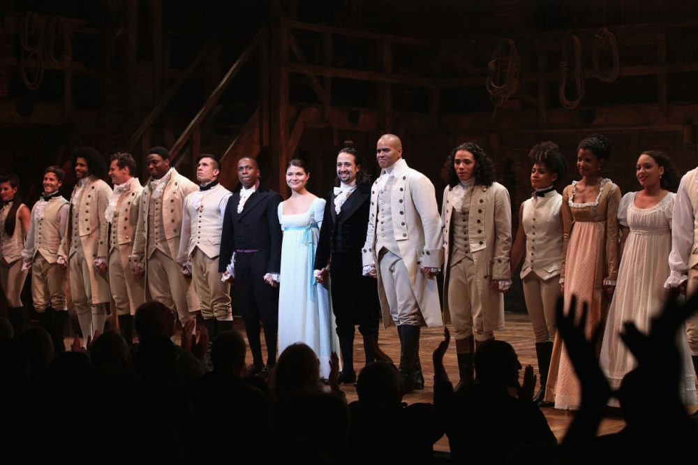 "The cast of Hamilton performs at ""Hamilton"" Broadway Opening Night at Richard Rodgers Theatre on August 6, 2015 in New York City.  (Neilson Barnard/Getty Images)"