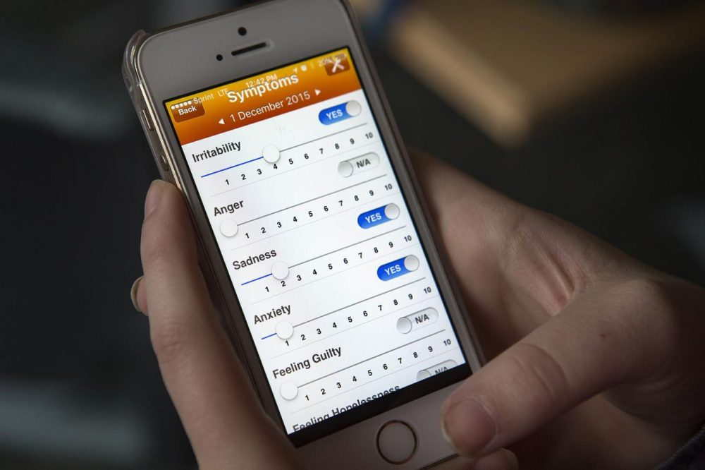 Optimism is an app that helps people with mental health problems. (Jesse Costa/WBUR)