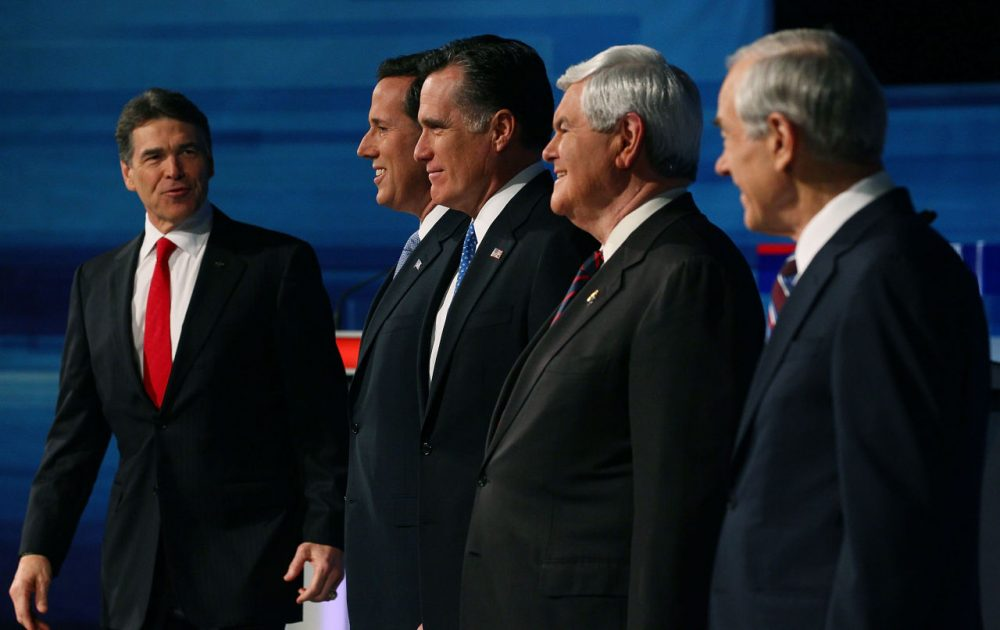 Presidential candidates (L-R) Texas Gov. Rick Perry, former U.S. Sen. Rick Santorum, former Massachusetts Gov. Mitt Romney, former Speaker of the House Newt Gingrich, and U.S. Rep. Ron Paul (R-TX) pose for a photos before participating in a Fox News, Wall Street Journal sponsored debate at the Myrtle Beach Convention Center, on January 16, 2012 in Myrtle Beach, South Carolina. A year before the 2012 election, Perry was polling as the Republican front-runner. (Mark Wilson/Getty Images)