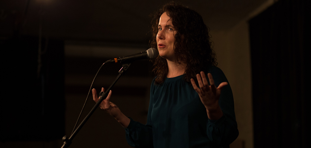 Massmouth's coordinator Cheryl Hamilton telling a story at a slam. (Courtesy Massmouth)