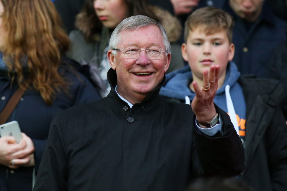 MANCHESTER, ENGLAND - NOVEMBER 14:  Sir Alex Ferguson the manager of Great Britain and Ireland waves to the fans during the David Beckham Match for Children in aid of UNICEF between Great Britain & Ireland and Rest of the World at Old Trafford on November 14, 2015 in Manchester, England.  (Photo by Alex Livesey/Getty Images)