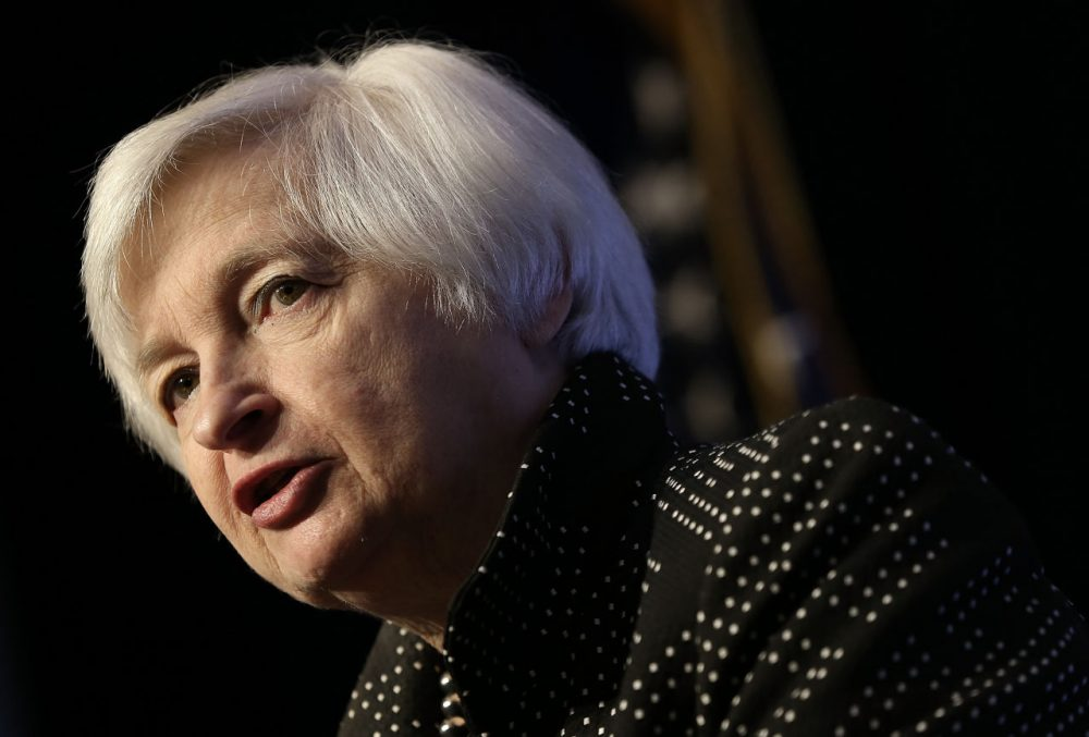 U.S. Federal Reserve Board Chairwoman Janet Yellen delivers remarks December 2, 2015 in Washington, D.C. Yellen spoke and participated in a discussion at the Economic Club of Washington. (Win McNamee/Getty Images)