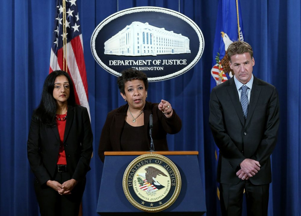 U.S. Attorney General Loretta Lynch (center) speaks during a press conference at the Department of Justice with Principal Deputy Assistant Attorney General Vanita Gupta (left), head of the Civil Rights Division and U.S. Attorney Zachary T. Fardon (right) of the Northern District of Illinois on December 7, 2015 in Washington, DC. Lynch announced a Justice Department investigation into the practices of the Chicago Police Department during the press conference.   (Win McNamee/Getty Images)