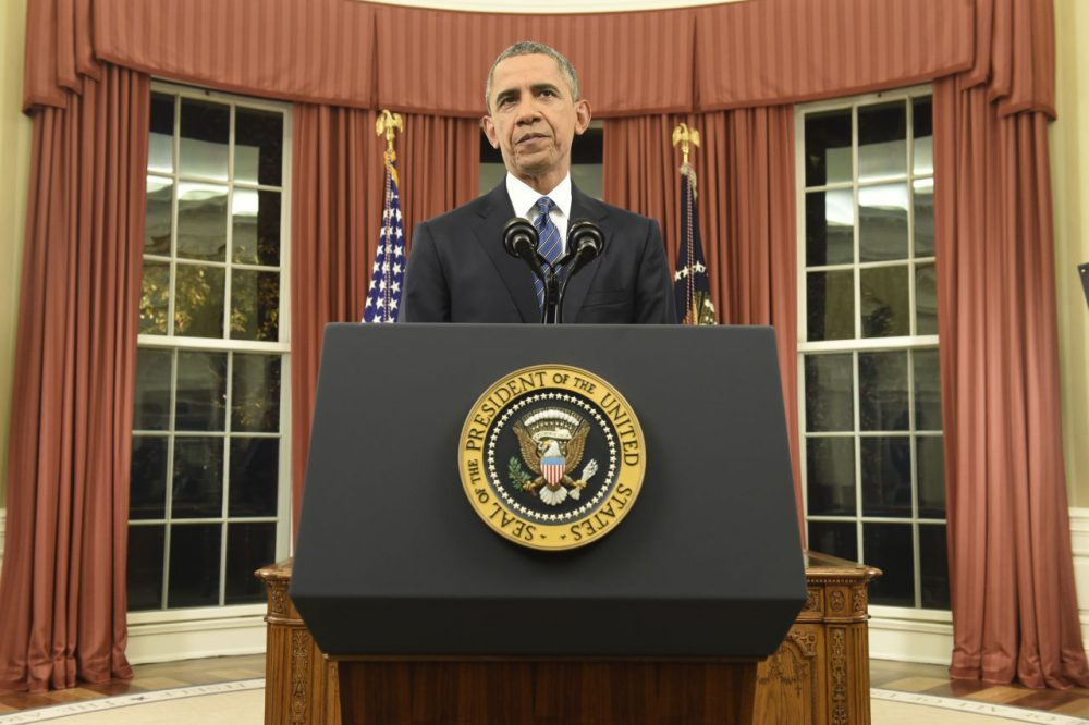 President Barack Obama addresses the country from the Oval Office on December 6, 2015 in Washington, DC. President Obama addressed the terrorism threat to the United States and the recent attack in San Bernardino, California. (Saul Loeb-Pool/Getty Images)