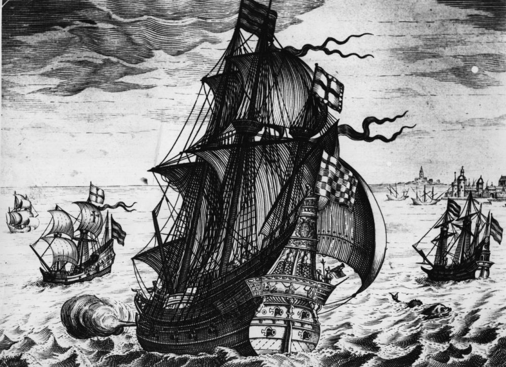 An illustration depicts a Spanish galleon of the mid-16th century on the high seas. (Hulton Archive/Getty Images)
