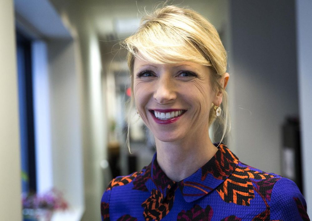 "Harvard Business School social psychologist Amy Cuddy is best known for her TED Talk about power poses. Now she's expanding on her ideas in a new book called ""Presence."" (Robin Lubbock/WBUR)"