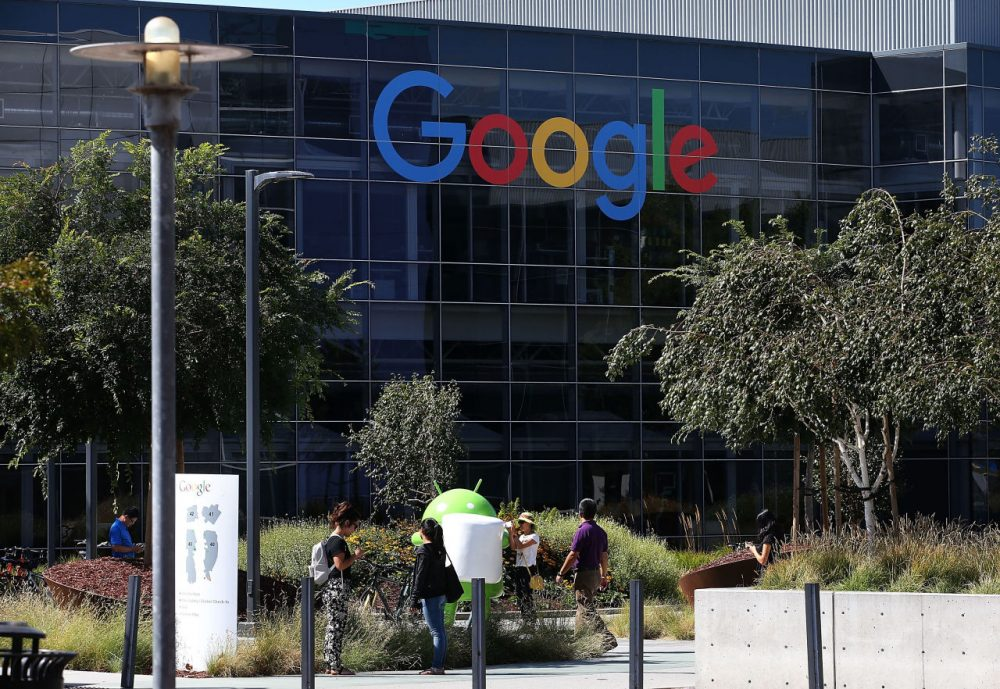 The new Google logo is displayed at the Google headquarters on September 2, 2015 in Mountain View, California. Google has made the most dramatic change to their logo since 1999 and have replaced their signature serif font with a new typeface called Product Sans. (Justin Sullivan/Getty Images)