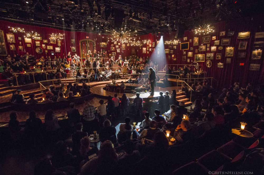 "A performance of ""Natasha, Pierre & The Great Comet of 1812"" at the Loeb Drama Center in Cambridge. (Gretjen Helene/American Repertory Theater)"