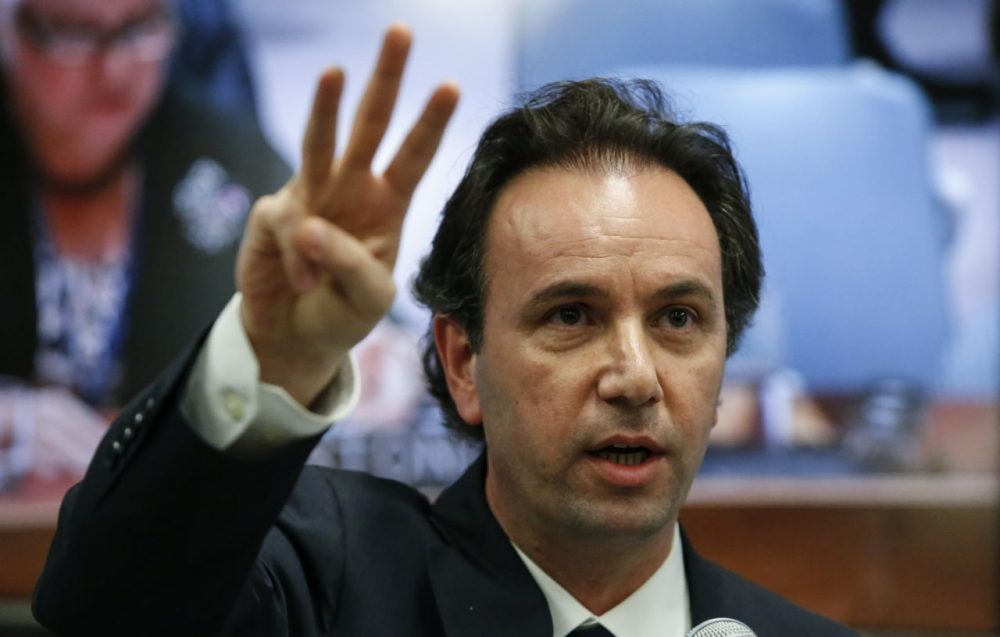 Syrian Opposition Council President Khaled Khoja speaks during a press conference during the 70th session of the UN General Assembly on September 30, 2015 at the UN in New York. (Kena Betancur/AFP/Getty Images)
