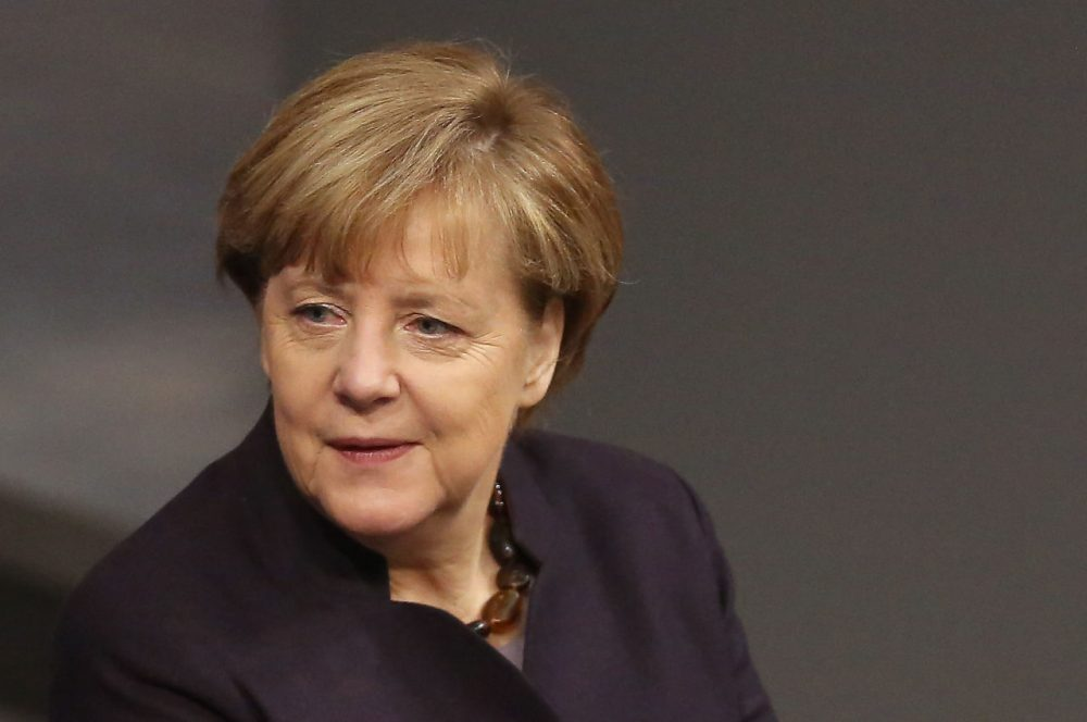German Chancellor Angela Merkel arrives for a meeting of the Bundestag, the German federal parliament, as its members discuss the country's 2016 budget on November 25, 2015, in Berlin, Germany. (Adam Berry/Getty Images)