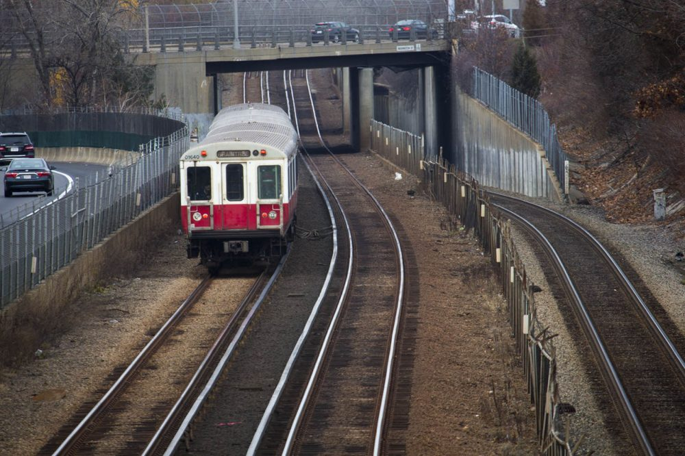 An MBTA Red Line train heads toward Braintree Station Thursday. (Jesse Costa/WBUR)