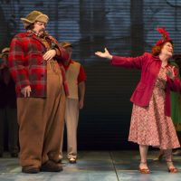 """Nick Offerman as Ignatius J. Reilly and Anita Gillette as Irene Reilly in """"A Confederacy of Dunces"""" at the Huntington Theatre Company. (Courtesy T. Charles Erickson/Huntington Theatre Company)"""