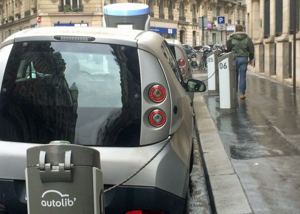 One Autobib charging station is outside the renowned Sorbonne University in Paris. It's a good location for such cars, since 60 percent of Autolib customers are under 35 years old. (Dan Grossman)