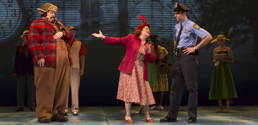 """Nick Offerman as Ignatius J. Reilly, Anita Gillette as Irene Reilly and Paul Melendy as Patrolman Mancuso in """"A Confederacy of Dunces"""" at the Huntington Theatre Company. (Courtesy T. Charles Erickson/Huntington Theatre Company)"""