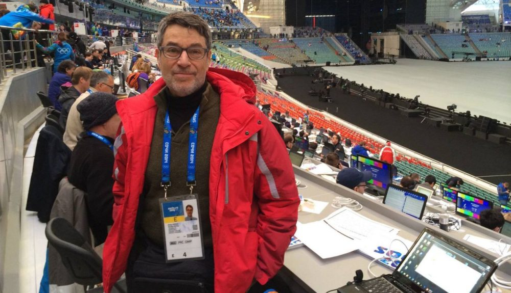 Chicago Tribune Olympic specialist Philip Hersh is pictured before the opening ceremony of the Sochi 2014 Olympic Games. (Courtesy of Phil Hersh)