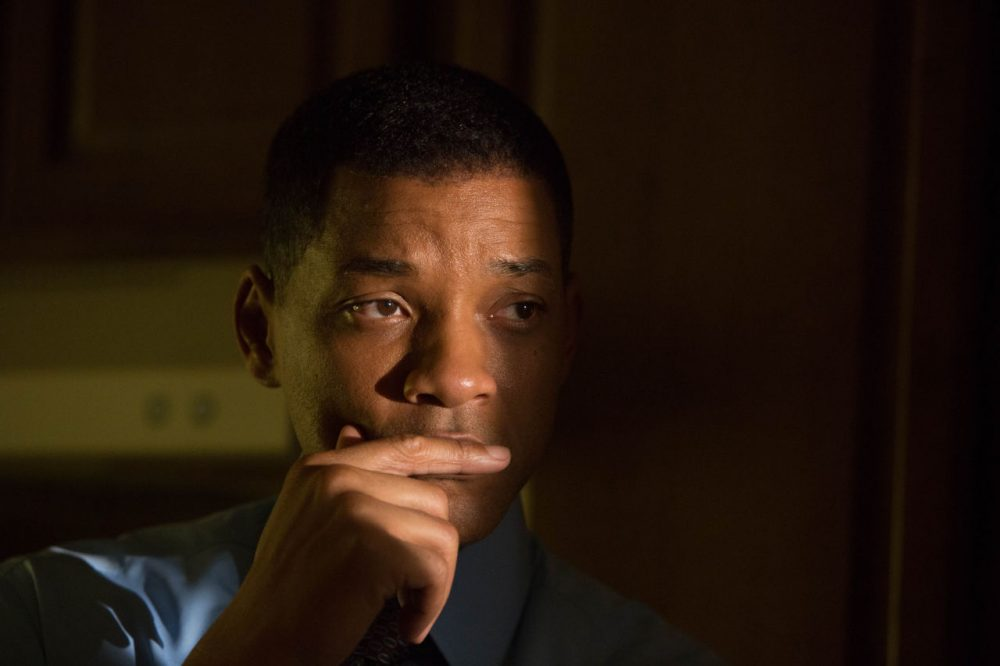 """Will Smith was nominated this week for a Golden Globe for best actor in a motion picture drama for his role as Dr. Bennet Omalu in """"Concussion."""" Dr. Omalu is known for his research on head-related traumas and sports injuries.  (Melinda Sue Gordon/Columbia Pictures via AP)"""
