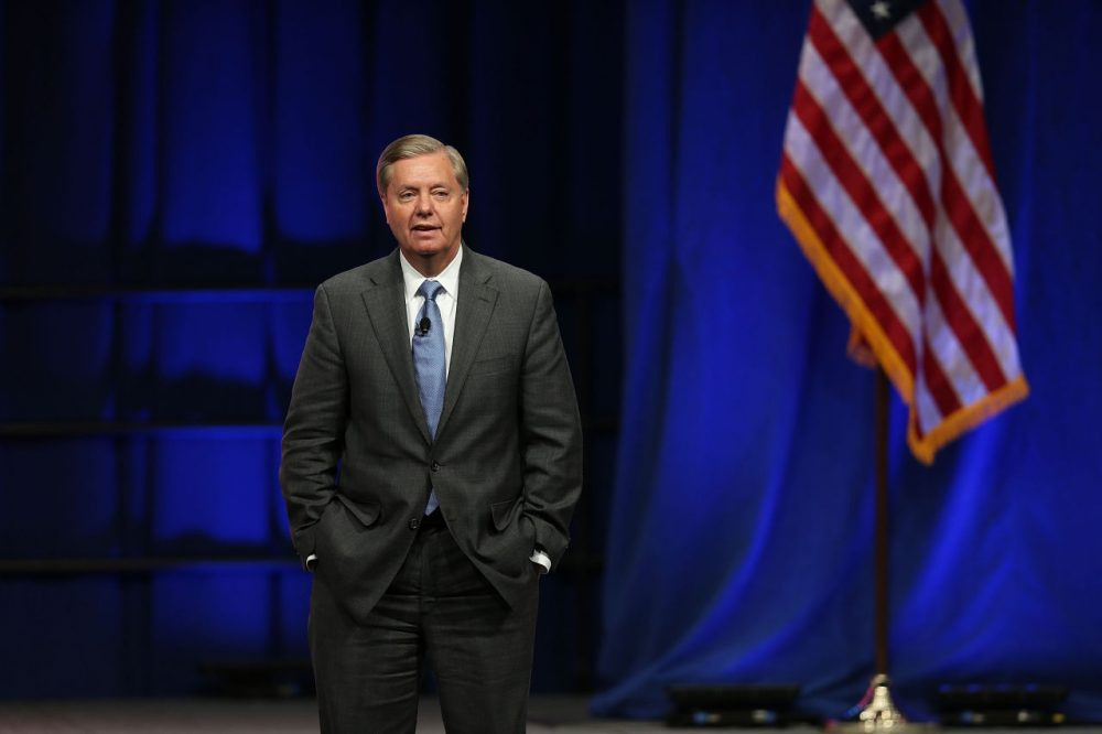 Republican presidential candidate Sen. Lindsey Graham (R-SC) speaks during the Sunshine Summit conference being held at the Rosen Shingle Creek on November 13, 2015, in Orlando, Florida. The summit brought Republican presidential candidates in front of the Republican voters. (Joe Raedle/Getty Images)