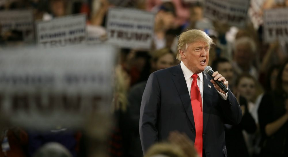 Greg Peverill-Conti: When we begin to accept and acclaim the words of a leader calling for the killing of innocents in our name then we, as a people, have some deep soul-searching to do. In this photo, Republican presidential candidate Donald Trump speaks during a campaign rally, Friday, Dec. 11, 2015, in Des Moines, Iowa. (Charlie Neibergall/ AP)