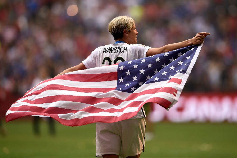 Abby Wambach celebrates the U.S. national team's 5-2 victory against Japan in the FIFA Women's World Cup on July 5 in Vancouver, Canada. Wambach will retire from professional soccer after one final game tonight. (Dennis Grombkowski/Getty Images)