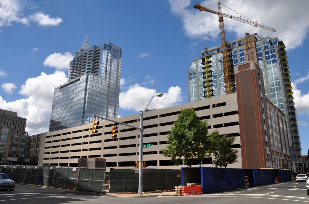 In downtown Raleigh, mixed use construction is on the rise.  Economist Mike Walden of North Carolina State University sees the rise in interest rates as a positive referendum on the economy. (bz3rk/Flickr)