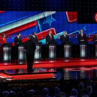 Republican presidential candidates Ohio Gov. John Kasich, Carly Fiorina, U.S. Sen. Marco Rubio (R-FL), Ben Carson, Donald Trump, U.S. Sen. Ted Cruz (R-TX), Jeb Bush, New Jersey Gov. Chris Christie and U.S. Sen. Rand Paul (R-KY) participate during the CNN Republican presidential debate on Dec. 15, 2015, in Las Vegas, Nevada. This is the last GOP debate of the year, with U.S. Sen. Ted Cruz (R-TX) gaining in the polls in Iowa and other early voting states and Donald Trump rising in national polls.  (Justin Sullivan/Getty Images)