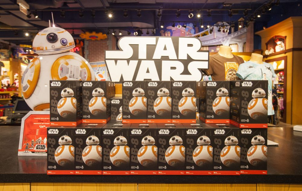 "Chicago kicked off midnight madness with ""Force Friday"" on September 4, celebrating the launch of merchandise for ""Star Wars: The Force Awakens,"" at the Michigan Ave Disney Store in Chicago. (Barry Brecheisen/Invision for Disney Consumer Products/AP Images)"