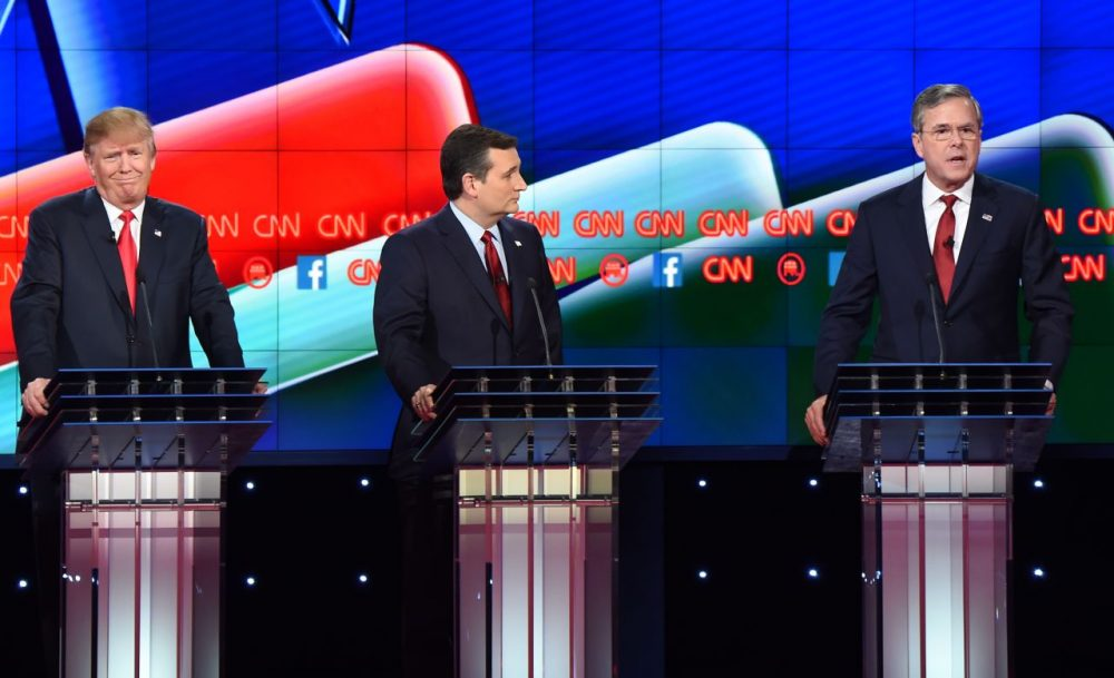 Republican presidential candidate former Florida Gov. Jeb Bush (right) speaks as businessman Donald Trump (left) gestures and Texas Sen. Ted Cruz (center) looks on during the Republican Presidential Debate, hosted by CNN, at The Venetian Las Vegas on December 15, 2015 in Las Vegas, Nevada.  (Robyn Beck/AFP/Getty Images)