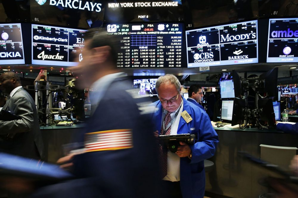 Traders work on the floor of the New York Stock Exchange (NYSE) on December 16, 2015 in New York City. Stocks were up in morning trading just hours before it is expected that the Federal Reserve will raise interest rates for the first time in nearly a decade. (Spencer Platt/Getty Images)