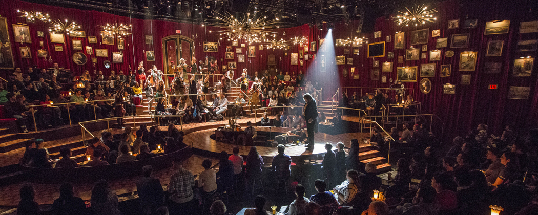 "The immersive set of ""Natasha, Pierre and The Great Comet of 1812"" at the American Repertory Theater. (Courtesy Gretjen Helene/American Repertory Theater)"