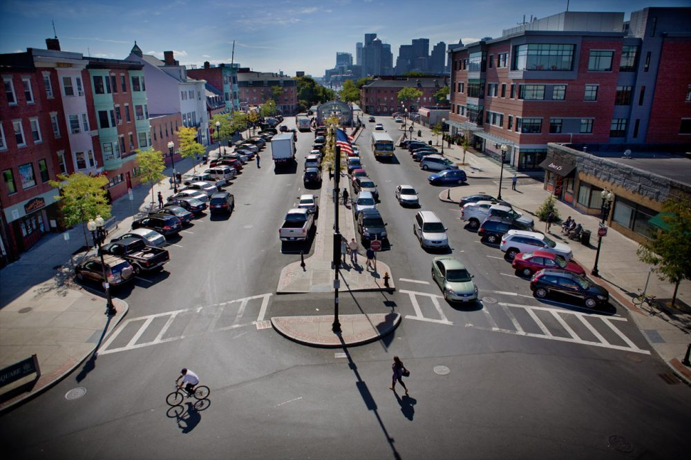 A view of Maverick Square in East Boston. (Jesse Costa/WBUR)