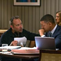 """Director Peter Landesman, left, and Will Smith on set of Columbia Pictures' """"Concussion."""""""