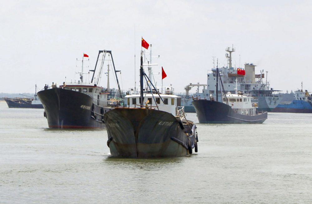 This picture taken on May 6, 2013, shows fishing vessels setting sail for the Spratly Islands, an archipelago disputed between China and other countries including Vietnam and the Philippines, from Danzhou, south China's Hainan province. (STR/AFP/Getty Images)