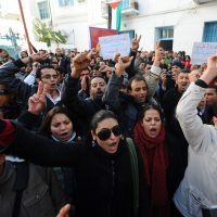 Tunisians protest in Tunis on December 27, 2010. (Fethi Belaid/AFP/Getty Images)