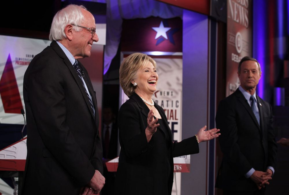 Democratic presidential candidates (L-R) Sen. Bernie Sanders (I-VT), Hillary Clinton and Martin O'Malley stand on the stage prior to this presidential campaign's second Democratic debate November 14 in Des Moines, Iowa. (Alex Wong/Getty Images)