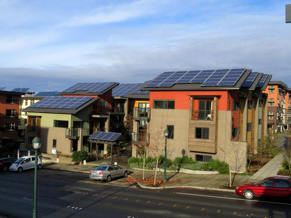 This complex of ten highly efficient townhouses in Issaquah, Washington was designed to be the first net-zero-energy townhome complex in the country. (Tom Banse/Northwest News Network)