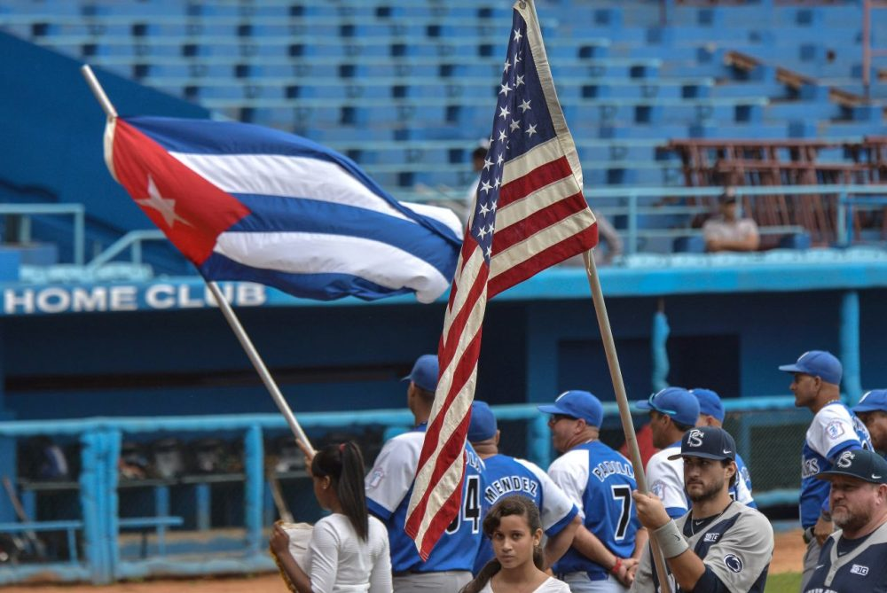 "Penn State's baseball team traveled to Cuba last month and competed against the Cuban Industriales. The team is known as the ""Yankees"" of Cuban baseball.  (Yamil Lage/AFP/Getty Images)"