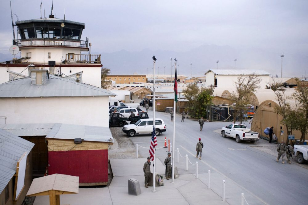 A suicide attack near Bagram Airfield, U.S.-run air base in Afghanistan, shown here on Veteran's Day 2008, killed six foreign soldiers Monday. (Courtesy Staff Sgt. Samuel Morse/U.S. Air Force)