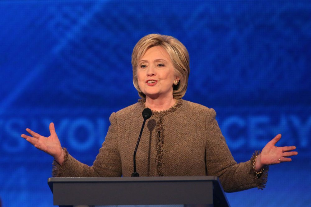 Democratic president candidate Hillary Clinton speaks at the debate at Saint  Anselm College in Manchester, New Hampshire Saturday night. (Andrew Burton/Getty Images)