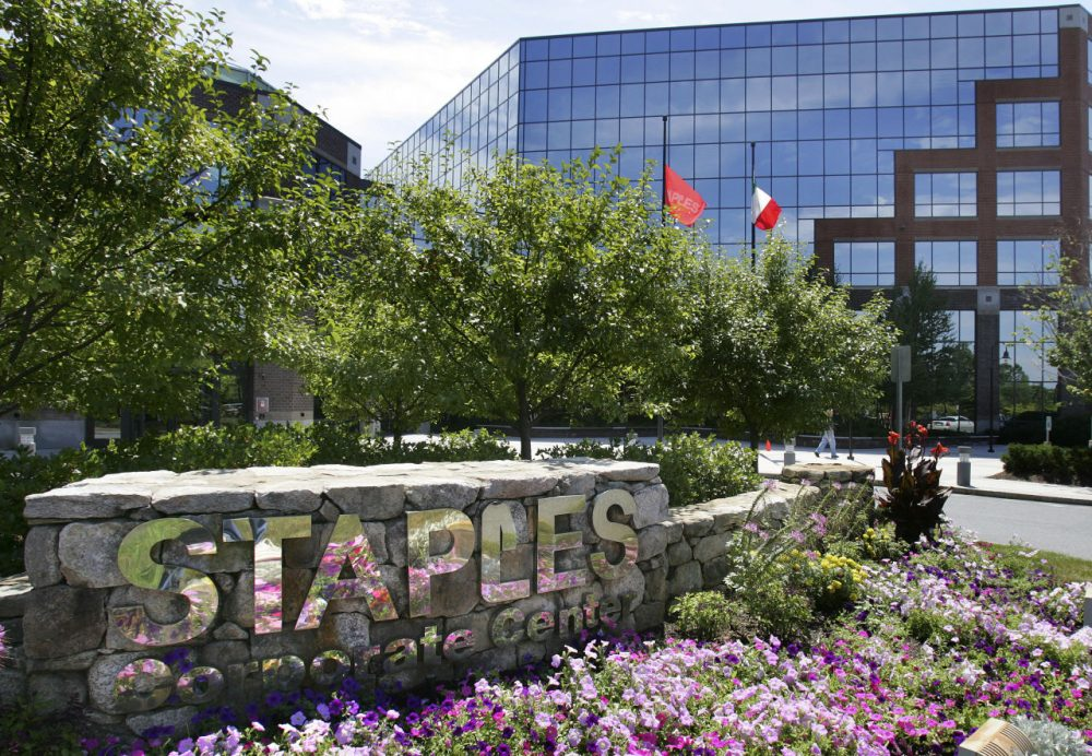 Staples Inc. headquarters is seen in 2005 in Framingham, Mass. The office supplies giant is attempting to acquire rival company Office Depot. (Michael Dwyer/AP)