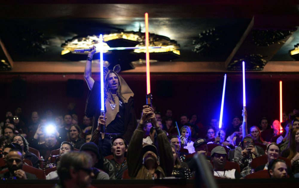 Fans attend the opening night of Walt Disney Pictures and Lucasfilm's 'Star Wars: The Force Awakens' at TCL Chinese Theatre IMAX in Hollywood, California. (Kevork Djansezian/Getty Images)
