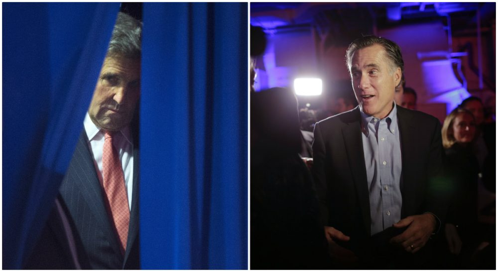 Both the Democrats and the GOP face big issues internally. Tom Keane offers a modest proposal on behalf of the Bay State. Secretary of State John Kerry, pictured here on Dec. 17, 2015; and former Mass. Gov. Mitt Romney, pictured here on Jan. 16, 2015. (Pablo Martinez Monsivais, Gregory Bull/ AP)