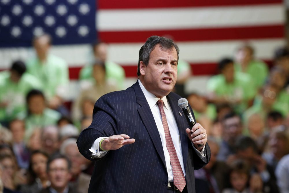 Republican presidential candidate, New Jersey Gov. Chris Christie has held about 40 town hall meetings in New Hampshire — more than any other candidate. Here he speaks in Manchester, N.H. in October. (Jim Cole/AP)