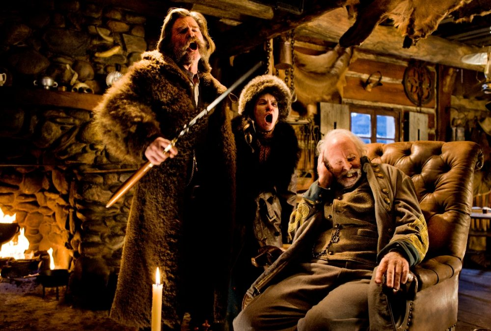 "Kurt Russell, Jennifer Jason Leigh and Bruce Dern in ""The Hateful Eight."" (Courtesy Andrew Cooper/The Weinstein Company)"